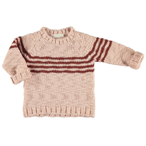 Knitted Sweater, Pink and Brick Stripes