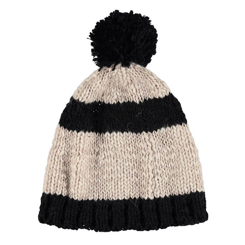 Knitted Hat, Ecru and Black Stripes