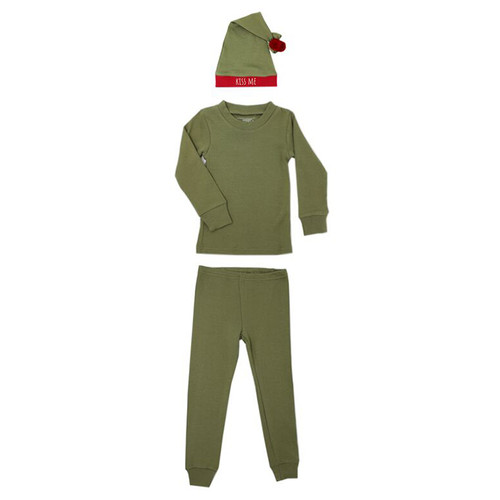 Organic Kids LS PJ and Cap Set, Mistletoe