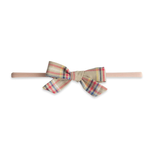 Skinny Cotton Bow, Tan Plaid