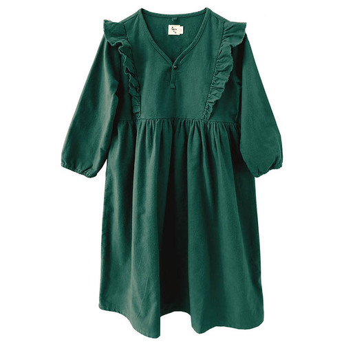 Mazzy Flannel Ruffle Dress, Forest