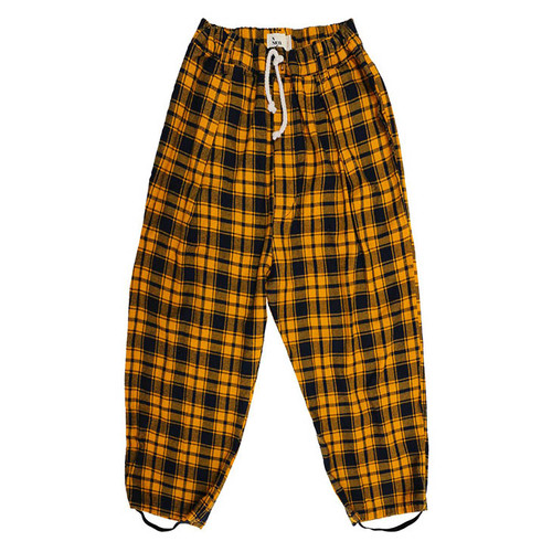 Clash Plaid Pleated Trouser, Mustard