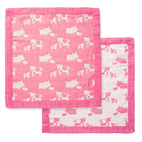 Muslin Mini Blankie, Cows & Pigs!