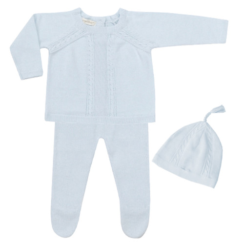 Newborn Cable Knit 3-Piece Set, Powder Blue