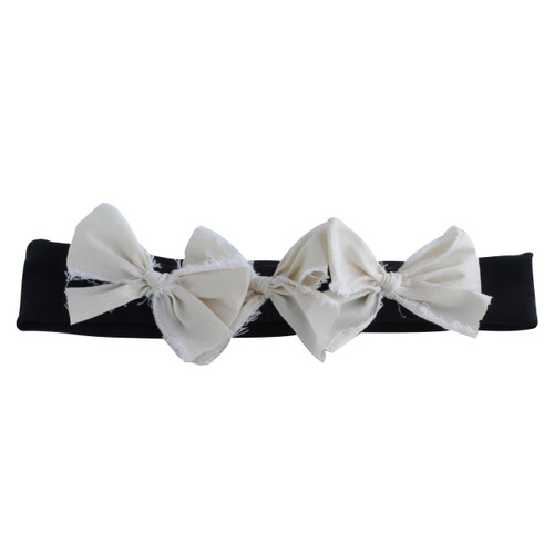 Triple Bow, Ivory/Black