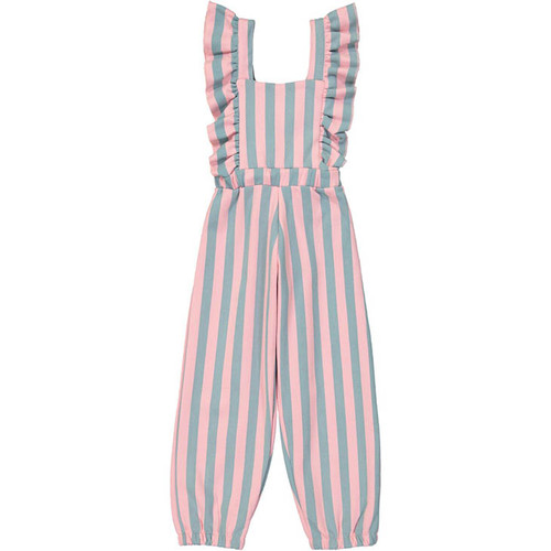 Ruffled Jumpsuit, Cotton Candy Stripe