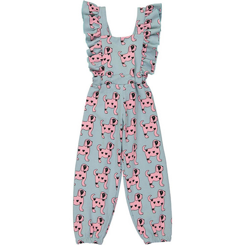 Ruffled Jumpsuit, Pink Dogs
