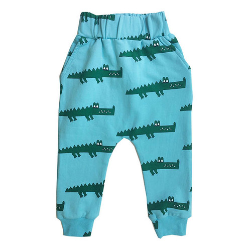 Drop Crotch Sweat Pants, Blue Crocodile