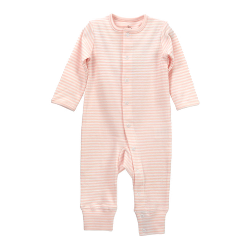 Organic Cotton Long Sleeve Romper, Pink Stripe