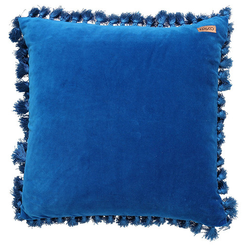 Velvet Tassel Cushion Cover, Mediterranean Blue