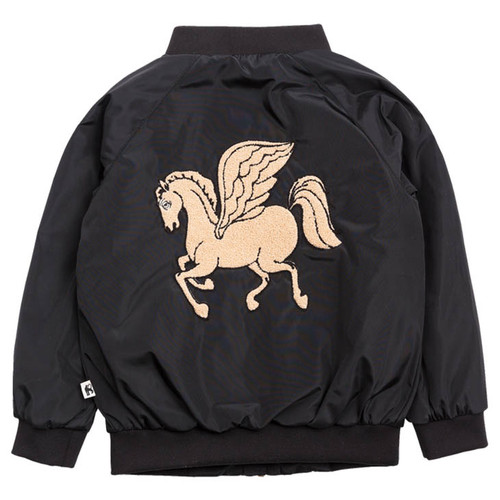 Mini Rodini Pegasus Baseball Jacket, Black