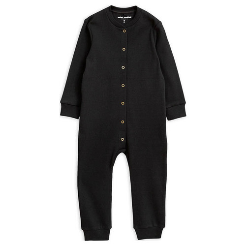 Mini Rodini Solid Rib Jumpsuit, Black
