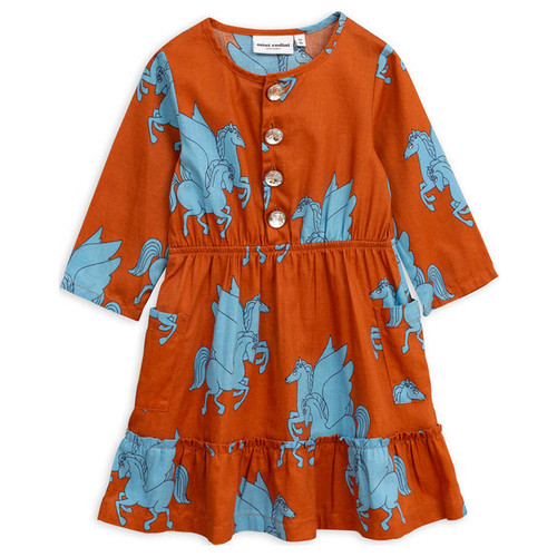 Mini Rodini Pegasus Flounce Dress, Brown