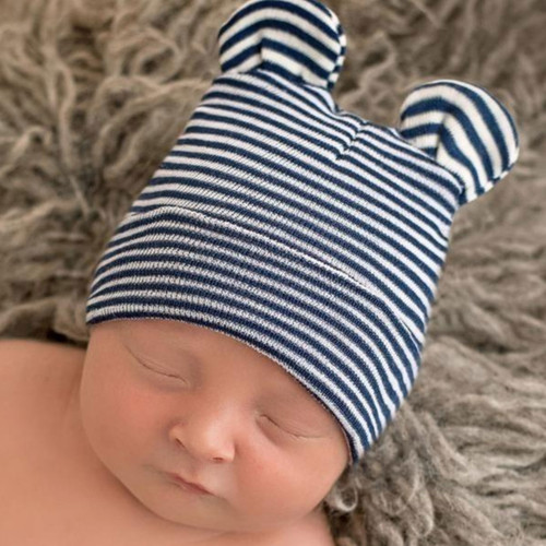 Newborn Bear Hat, Navy/White Stripe