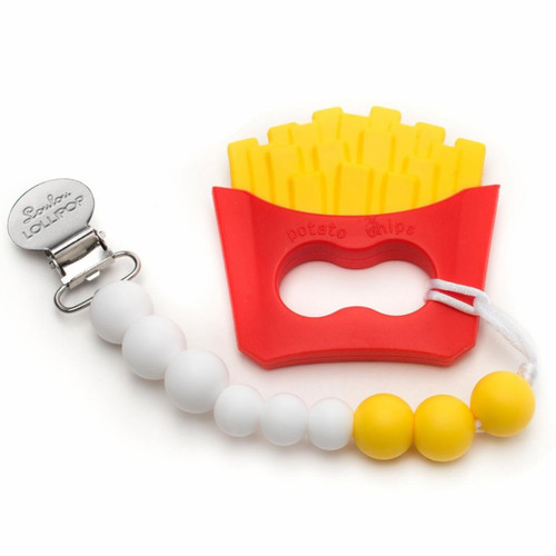 Silicone Teether Metal Clip Set, French Fries