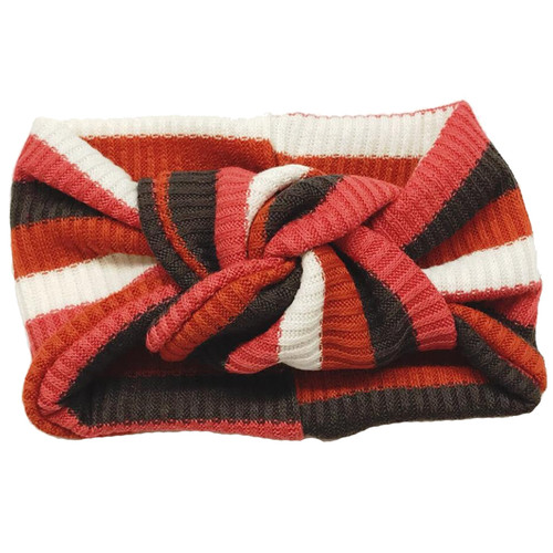 Twist Knot Headband, Rust Stripe