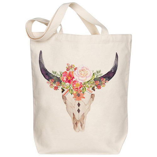 Canvas Tote, Floral Skull