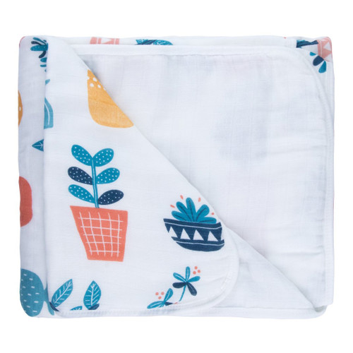 Triple Layer Muslin Blanket, Potted Plants
