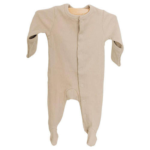 Long Sleeve Ribbed Footie, Sand