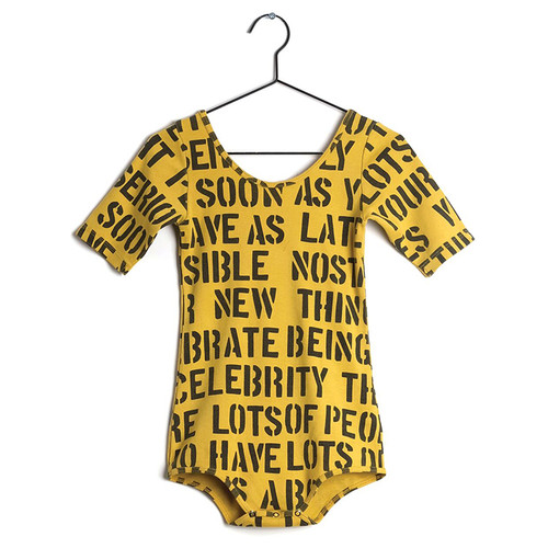 Wolf & Rita Alice Bodysuit, Yellow Alphabet Soup