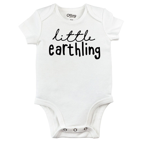 Little Earthling Bodysuit, White
