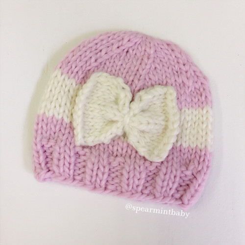 Bow Hat, Pink/Cream