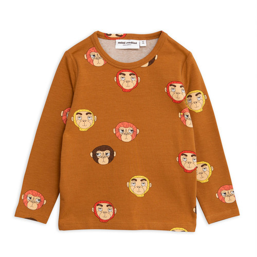 Mini Rodini Monkeys Long Sleeve Tee, Brown