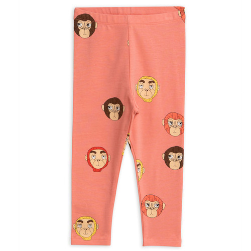 Mini Rodini Monkeys Leggings, Pink