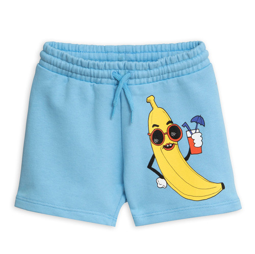 Mini Rodini Banana Sweatshorts, Light Blue