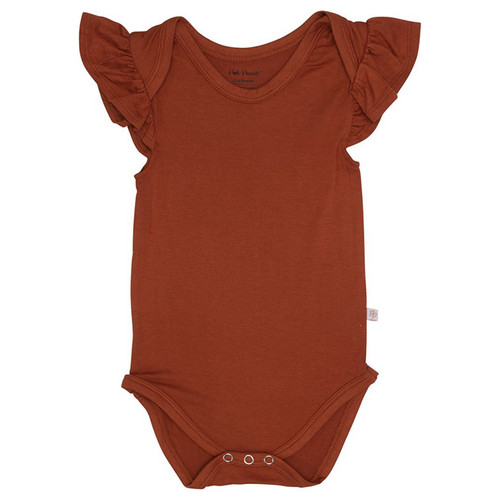 Ruffled Cap Sleeve Bodysuit, Rust
