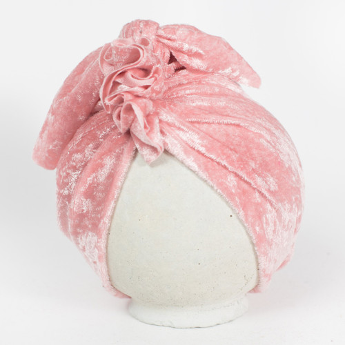 BluTaylor® Ruffle Turban, Crushed Blush Velvet