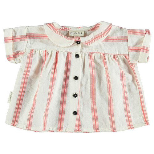 Peter Pan Collared Blouse, Red Stripes
