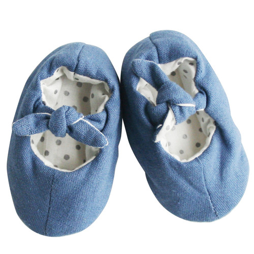 Linen Baby Slippers, Chambray