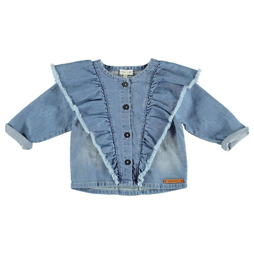 Jacket with Frills, Washed Jean