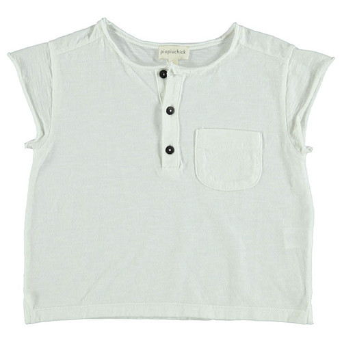 Buttoned T-Shirt, White