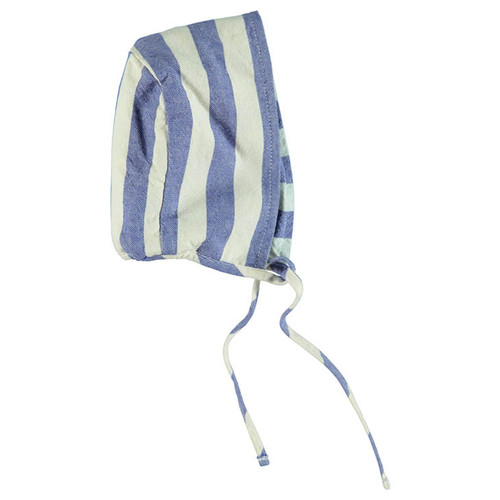 Reversible Baby Bonnet, Blue Stripes