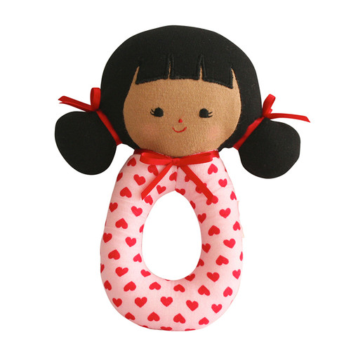 Audrey Grab Rattle, Pink Hearts