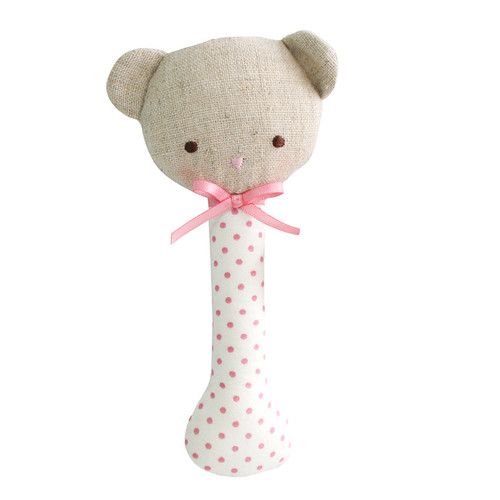 Baby Bear Stick Rattle, Pink Spot