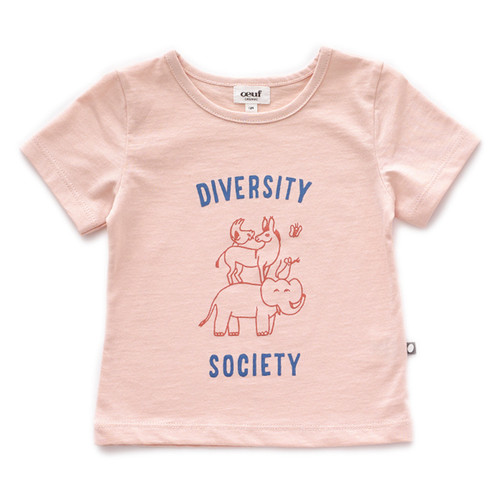 Oeuf Tee Shirt, Light Pink/Diversity