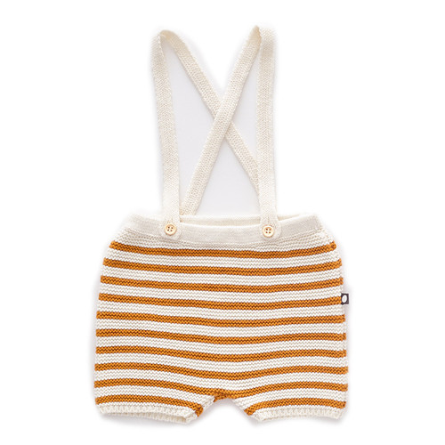 Oeuf Suspender Knit Shorts, White/Ochre Stripes