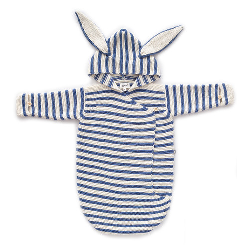 Oeuf Bunny Wrap, White/Blue Stripes