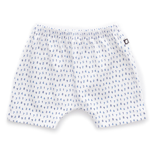 Oeuf Baby Shorts, White/Numbers