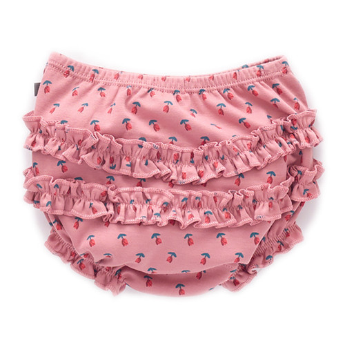 Oeuf Ruffle Bum Cover, Dark Pink/Tulips