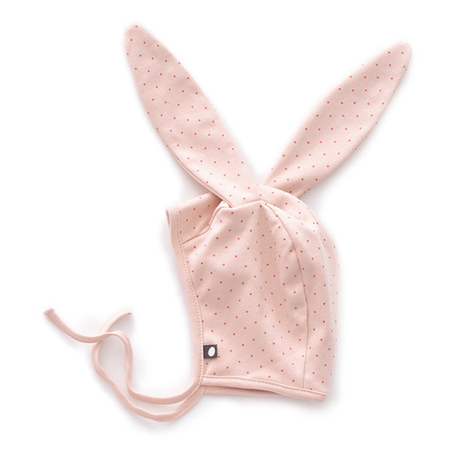 Oeuf Bunny Hat, Light Pink/Rust Dots