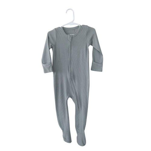 Organic Thermal Zip Footed Romper, Grey