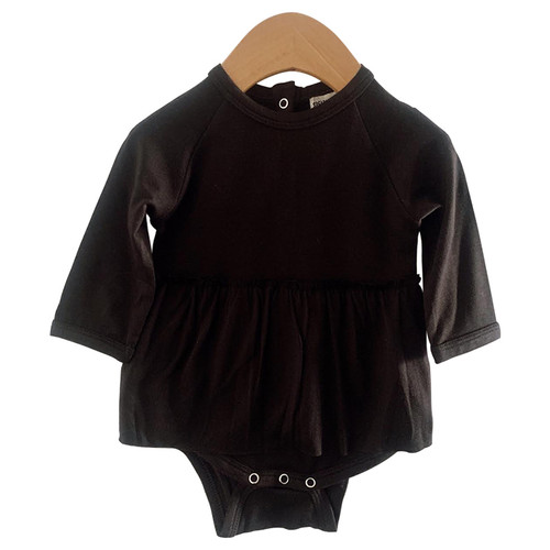 Long Sleeve Skirted Bodysuit, Black