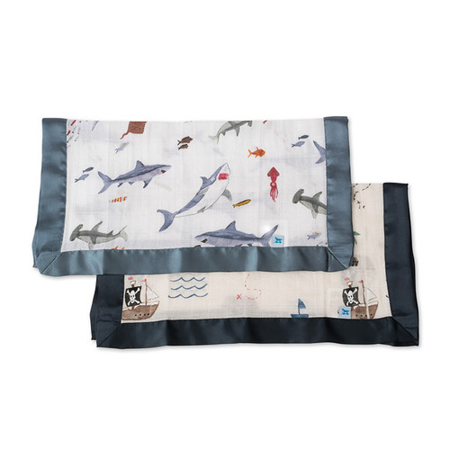 Sharks & Pirate Ships Security Blankets, 2-pack