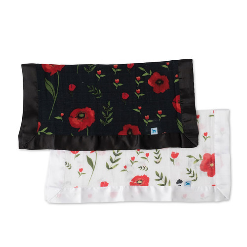 Summer Poppy & Dark Summer Poppy Security Blankets, 2-pack