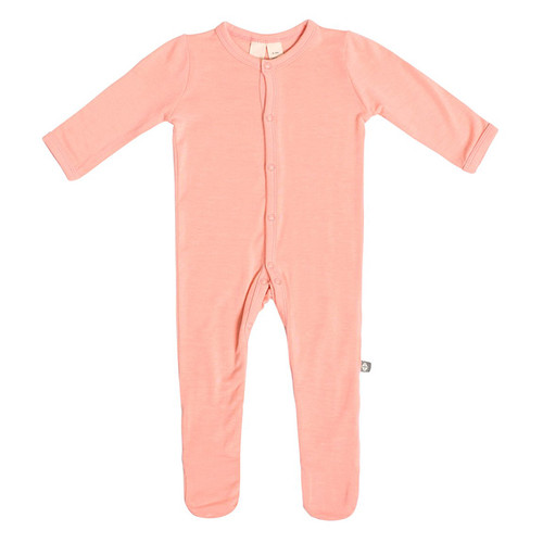 Bamboo Footed Romper, Peach