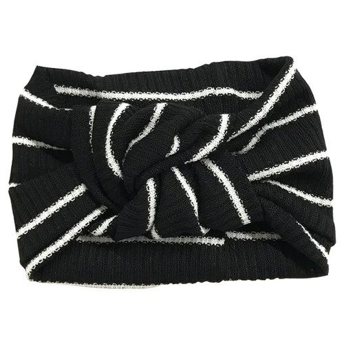 Twist Knot Headband, Black Stripe